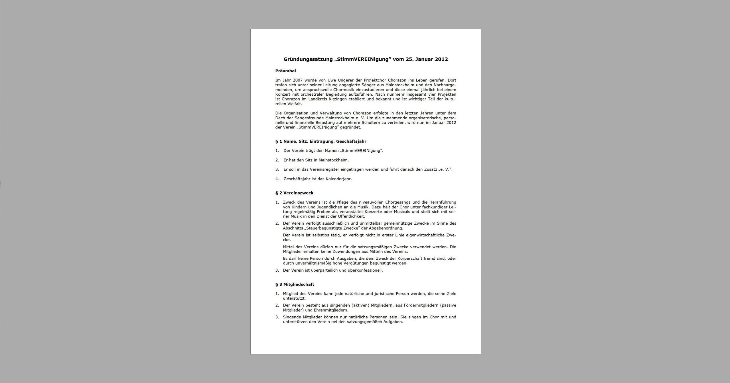 Stimmvereinigung Gründungssatzung - Download